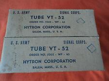 1943/s 2 X VT-52 VT52 45 SPECIAL CV596 HYTRON (WESTERN ELECTRIC)  TUBES OPEN TES