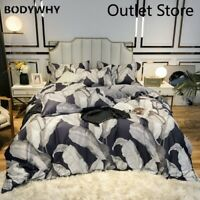 Luxury Egyptian Cotton Bedding Set Cover Rubber Fitted Sheet Duvet Cover 4pcs