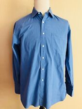 JOHN W. NORDSTROM Blue Long Sleeve Italian Broadcloth Mens Dress Shirt 15.5 /35