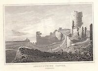 1840 Vittoriano Stampa ~Aberystwith Castle~ Cardiganshire Galles