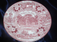 ENCO NATIONAL LINCOLN'S NEW SALEM ILLINOIS PINK RED PLATE STAFFORDSHIRE WARE