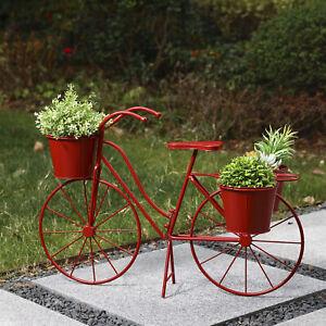 "Glitzhome 28""L Metal Standing Bicycle Planter Stand Flower Holder Garden Decor"