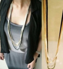 Fashion Lady Bib Statement Multi Metal Layers Chain Mixed Color Bib Necklace