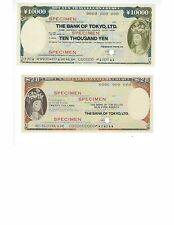 JAPAN  BANK OF TOKYO  SPECIMEN TRAVELERS CHEKS  10000 YEN & 20$  PAIR  UNC