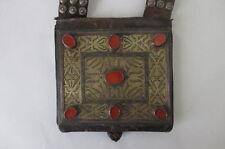 Tekke Turkoman Silver Gold Carnelian Leather Heikal Bag Pouch Museum Quality