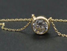 PM25 Created Diamond Solitaire Round Cable Chain Necklace 1.ct 14k Yellow Gold