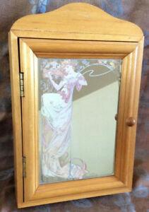 Boîte à clef mural, vintage avec miroir