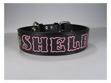 """18 """" x 1 1/2""""  wide Personalized Black Leather Dog Collar with  Name Plate"""