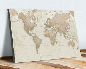 Vintage World Map CANVAS WALL ART  ARTWORK 30MM DEEP FRAMED PRINT