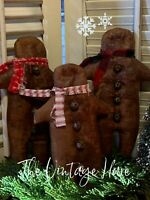 NEW Set of 3 Primitive Gingerbread Man Ornie Pillow Tuck Grungy Cinnamon