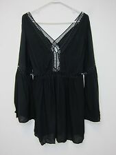 New Look Ladder Trim Kaftan Top - Womens Small - Black - NWT