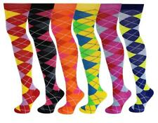6 Pairs Women Assorted Argyle Design Colorful Thigh High Over The Knee Socks