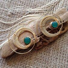 Large Brass Fern Leaf Green Onyx  Spiral Hook Earrings 45mm Tribal Ethnic Gypsy