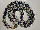 Old Estate Antique Chinese Import Blue Cloisonne Enamel Floral Beads Necklace