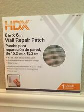 Hdx 6 in. x 6 in. Drywall Wall Repair Patch 1 patch, Brand New Never Opened :nib