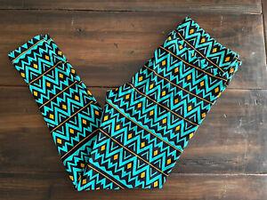 TC Tall and Curvy Lularoe Leggings Turquoise black yellow aztec beautiful soft