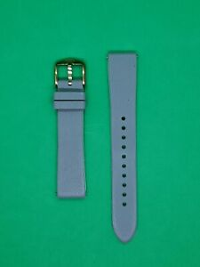 Genuine Fossil 18mm Grey Rubber Watch Band Strap With Rose Gold Buckle