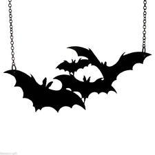 Grand Bijou  Pendentif Bat Noir Halloween Vampire Collier