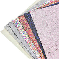 A4 Sheet Sequin Glitter Fabric Colorful Leather DIY Sewing Craft Bow Material