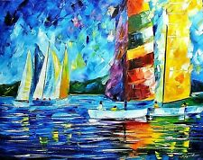 "Leonid Afremov-""Colorful Sail""-ORIGINAL Oil Painting/Canvas/Hand Signed/COA"