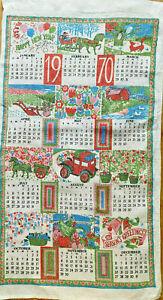 Vintage Linen 1970 Calendar Towel Seasons Greetings