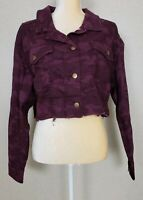 Wild Fable Women's Jacket Cropped Cut Off Red Maroon Long Sleeve Camo L 2XL