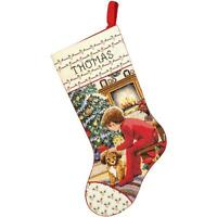 Counted Cross Stitch Christmas Stocking KIT Waiting for SANTA Janlynn 18""