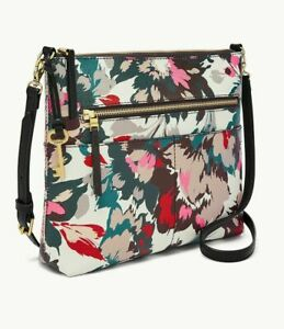 Fossil Fiona Pink Floral Large Crossbody