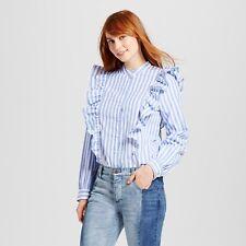 NEW Women's Ruffle Poplin Blouse Who What Wear Long sleeve Blue L NWT