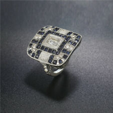 Antique Art Deco Silver Blue Sapphire & Diamond Jewelry Bridal Wedding Ring Sz 9