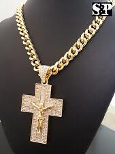 """Gold PT CZ Big Jesus Cross Pendant & 10mm 30"""" Cuban Heavy Chain Hip Hop Necklace"""