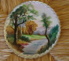 "Tmj Japan Ceramic Decorative Plate Trees Ruffle Edge 8"""
