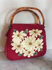 Vintage Handmade Needlepoint Handbag Purse Red Floral Lucite Handles