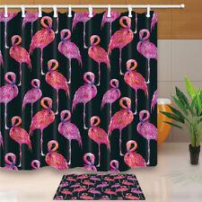 Watercolor Flamingo Black Background Bathroom Fabric Shower Curtain Set 71Inch