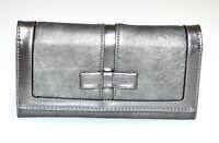 Portefeuille gris femme faux cuir porte-monnaie clutch bag sac à main vernis G3