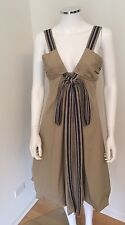 BCBG MAX AZRIA SAND V NECK AND BOW LONG COLLECTION DRESS $500- SIZE XS