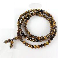 "Stretch 108 Natural 6mm Tiger Eye Yoga Meditation Prayer Beads Mala Necklace 27"""