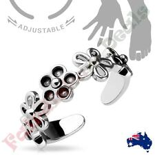 Silver Rhodium Plated Linked 5 Petal Flowers Adjustable Toe Ring/Mid Ring