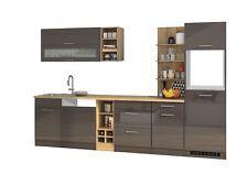 Einbauküche ohne Elektrogeräte Küchenzeile ohne Geräte 310 cm hochglanz grau
