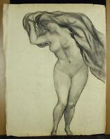 Drawing Original Naked Woman Air Dry Ses Hair c1900 24 3/8in