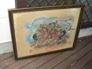 Classic Retro 50s 60s Cowboy American Indian Horseback Fight Vintage Painting