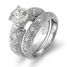 Round Cubic Zirconia Bridal Set Wedding Engagement Ring Sterling 925 Silver SZ 8