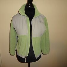 The North Face Womens Green and Gray Fleece Jacket Full Zip Girls Size MEDIUM