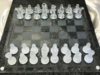 Vintage Glass Beveled Chess Board & Checkers Board Game Set Gift Present