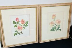 Vtg 90s Pair Framed & Mounted Pink Floral Rose Prints Shabby Chic, Cottage Core