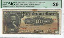 P-S439c 1910 10 Pesos, Mexico, Banco Mercantil de Veracruz PMG 20 Very Fine