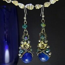 New Classical Natural  Alloy Blue Ball Crystal Dangle Earrings  ED1022