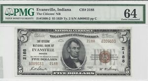$5.00 1929 Series Type 2 Citizens NB Evansville, IN. Ch #2188 PMG Graded 64 CU