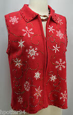 UGly Christmas sweater vest knit top zip up Red Gold beaded snowflake VTG SZ P L