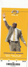 2013 LOS ANGELES LAKERS VS WIZARDS FULL TICKET STUB MIKE BROWN 3/22/13